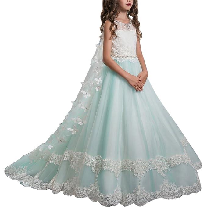 32ab4f441 Vestido de niña de flores para la boda Niñas Niños Largo Gala cumpleaños  Encaje De Ceremonia Fiesta Elegantes Comunión Paseo Baile Pageant Damas ...