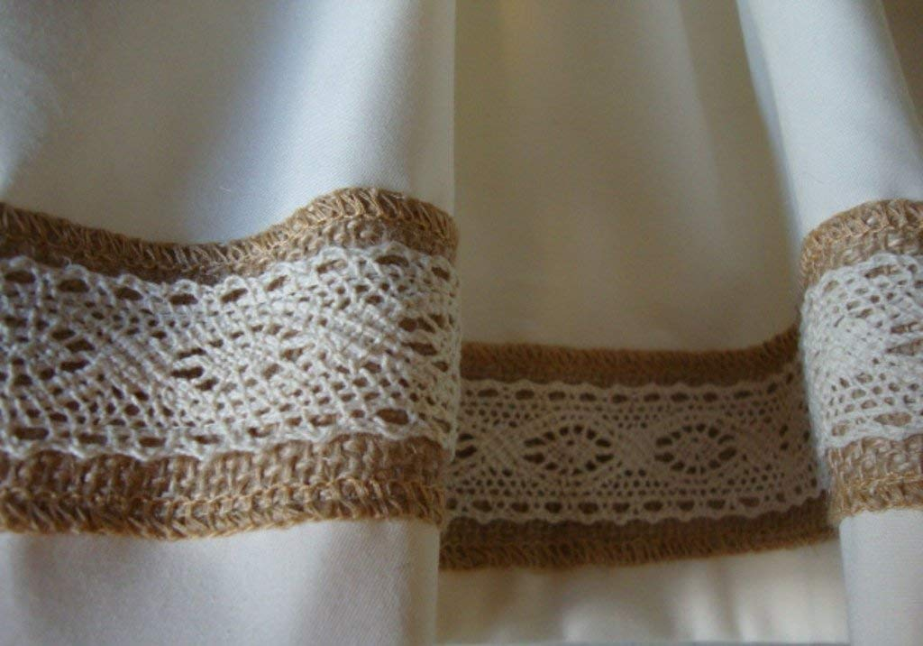 Valance Ivory Off-White with Burlap Lace Trim Custom Made Topper Window Treatment