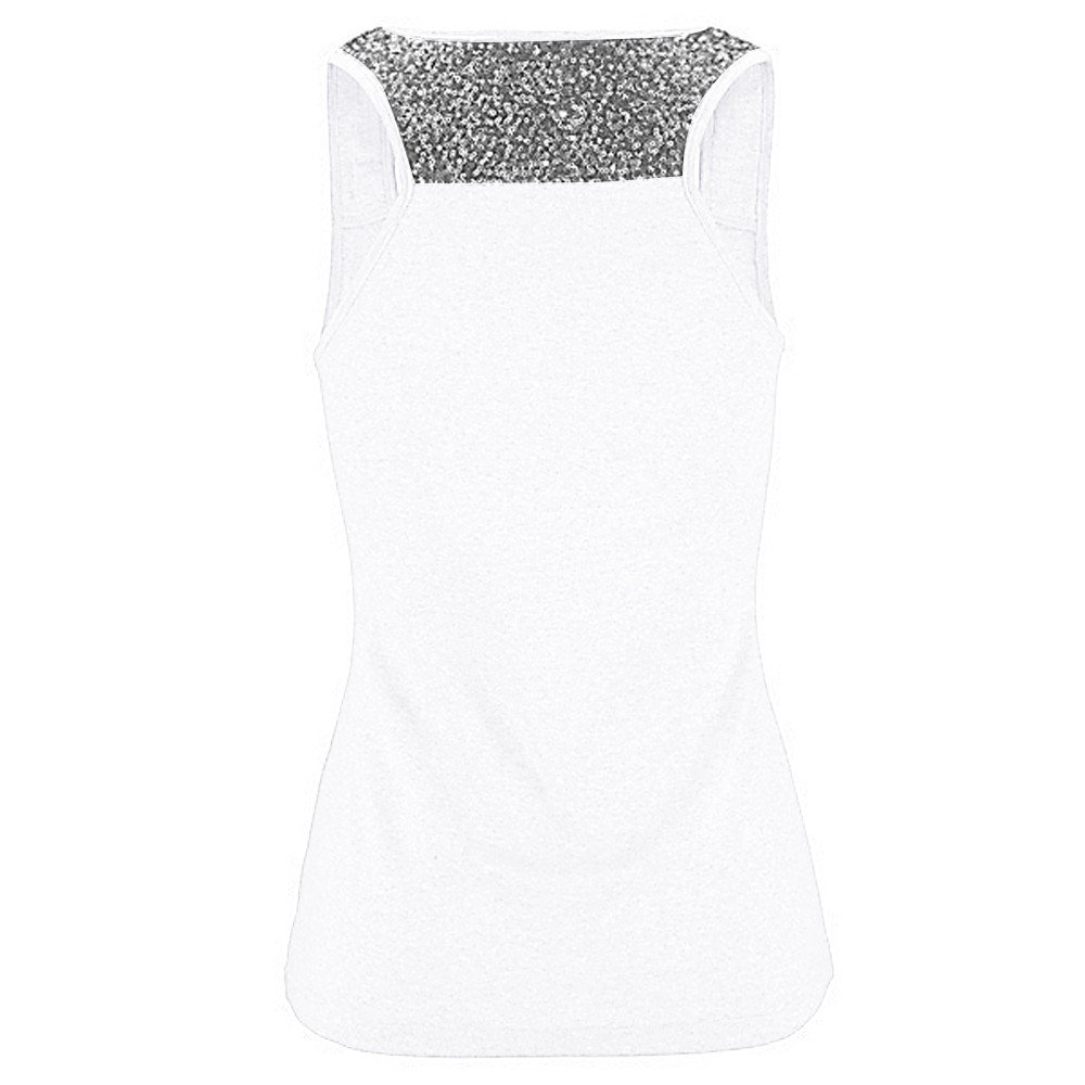 Women Tank Tops Sleeveless Solid Shirt Sequin Splice Plus Size Casual Vest Tunic Tops Blouse (S, White) by Yihaojia Women Blouse (Image #5)