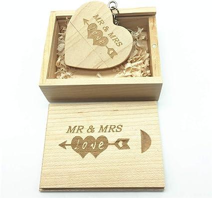 Memoria USB de madera con diseño grabado por láser de Mr & Mrs - Memoria USB de 64GB con forma de corazón y caja a juego para regalo de novedades (Maple): Amazon.es: