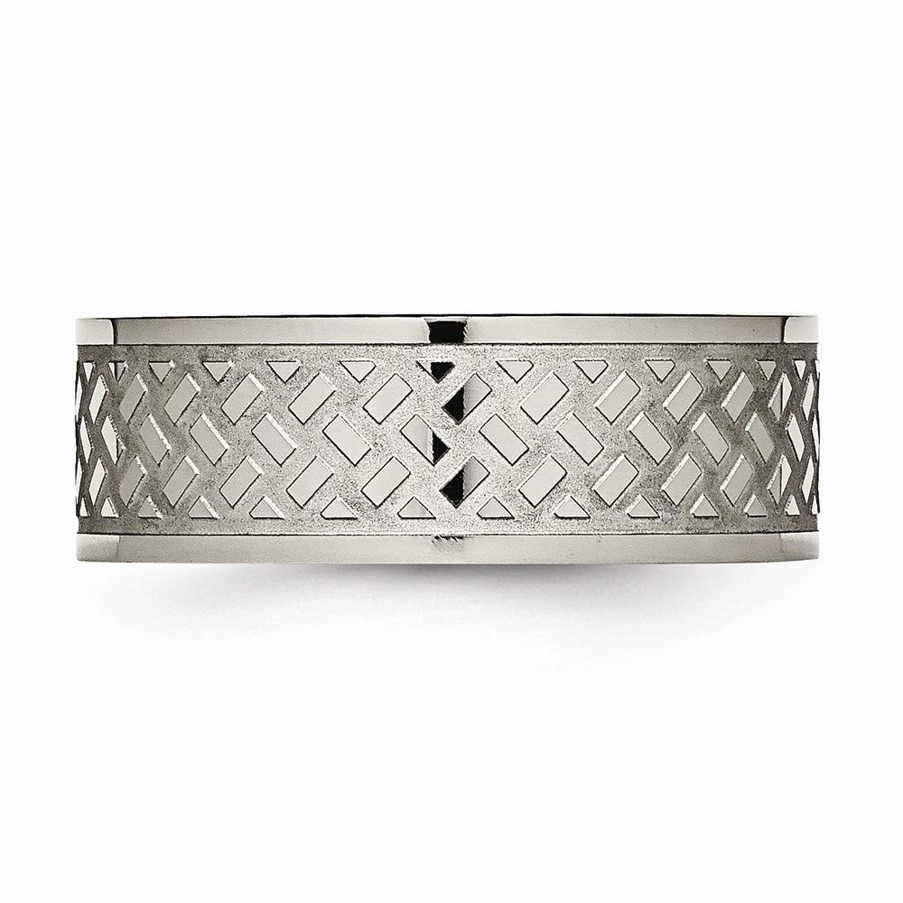 JewelryWeb Titanium Weave Design Polished Band Ring in Titanium Variety of Ring Sizes and 6mm 8mm