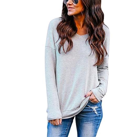 609cdcb9e7a Amazon.com  Kimloog Clearance!Women s V-Neck Long Sleeve Back Twist T-Shirt  Blouse Solid Casual Tops  Clothing