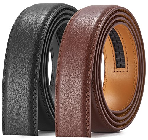 Men's Leather Ratchet Belt Strap Only 35mm,Leather Belt without Buckle (Belt Brown Strap)