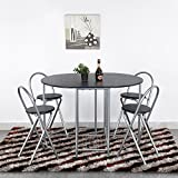 Homycasa Folding 5-Piece Steel Frame Dining Room Table and Chair Set on Wheels