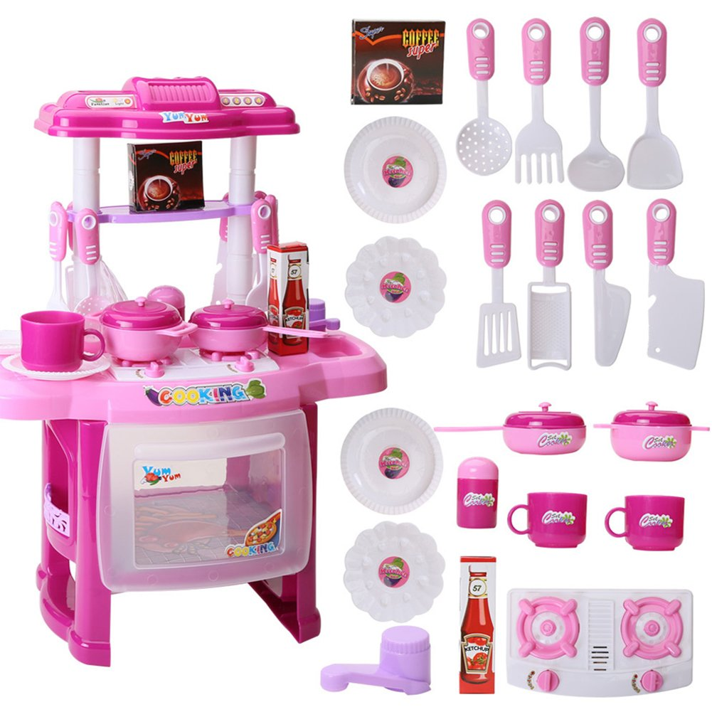 Fashionwu Kids Girls Cooking Kitchen Role Pretend Chef Play Set with Apron Chef Hat Great Gift Toy