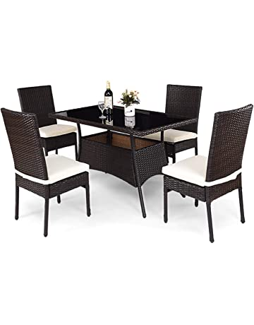 Tangkula Patio Furniture, 5 PCS All Weather Resistant Heavy Duty Wicker  Dining Set With Chairs