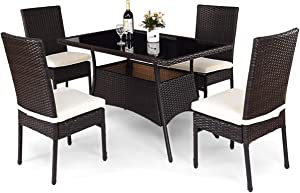 Tangkula Patio Furniture, 5 PCS All Weather Resistant Heavy Duty Wicker Dining Set with Chairs, Perfect for Balcony Patio Garden Poolside, 5 Piece Wicker Table and Chairs Set