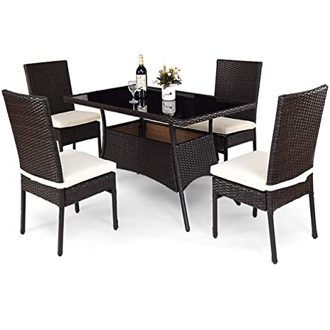 Incredible Tangkula Patio Furniture 5 Pcs All Weather Resistant Heavy Duty Wicker Dining Set With Chairs Perfect For Balcony Patio Garden Poolside 5 Piece Home Interior And Landscaping Ponolsignezvosmurscom