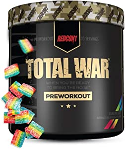 Redcon1 Total War - Pre Workout, 30 Servings, Boost Energy, Increase Endurance and Focus, Beta-Alanine, 350mg Caffeine, Citrulline Malate, Nitric Oxide Booster - Keto Friendly (Rainbow Candy)