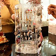 Cq acrylic 360 Degree Rotating Earring Holder,Jewelry Hanger Organizer and Acrylic Earring Screen Display Stand for Earrings
