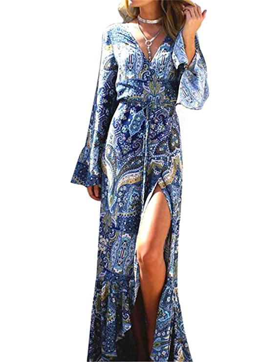 KESI Women's Boho Beach Dress Floral Print Cover-ups Casual Maxi Long Wrap Dress White-Blue
