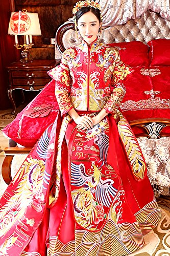 Generic 2018 new Xiu clothing Chinese dragon and phoenix gown bridal gown wedding dress toast clothing kimono costume cheongsam show for women girl
