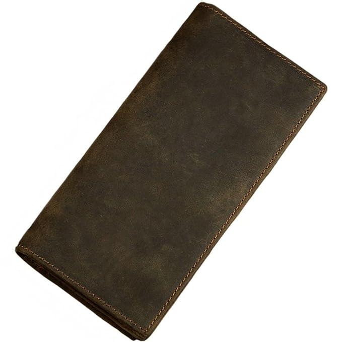 9dedadeb0744 Itslife Men's RFID BLOCKING Vintage Look Genuine Leather Long Bifold Wallet  Rfid Checkbook Wallets
