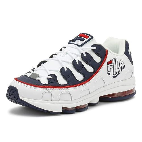 df6dbcd5f0ca0 Fila Hombres Blanco Azul Marino Rojo Silva Zapatillas-UK 11  Amazon.es   Zapatos y complementos