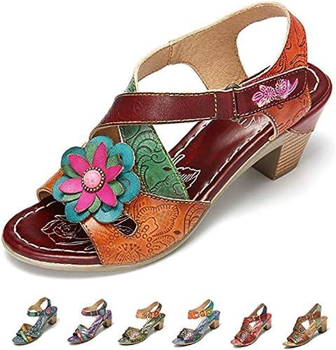 Camfosy Sandales Cuir Femmes Talons, Chaussures de Ville Été Bout Ouvert Bride Cheville Scratch Nu Pieds à Talons Hauts Confortable Original Bleu