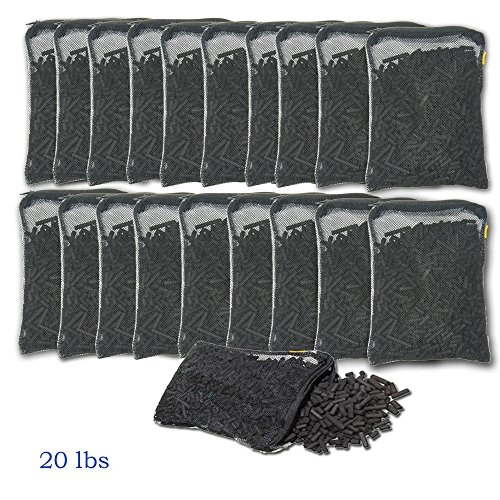 Aquacity8482; Activated Charcoal Carbon in Free Mesh Media Bags for Aquarium Fish Pond Tank Canister Filter (20-Pack (20 lbs)) (Activated Carbon 20 Pounds)
