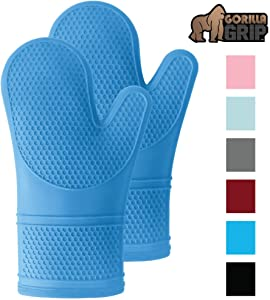 Gorilla Grip Premium Silicone Slip Resistant Oven Mitt Set, Soft Flexible Oven Gloves, Heat Resistant Kitchen Cooking Mitts, Protect Hands from Hot Surfaces, Cookie Sheets, Aqua Pair, Set of 2