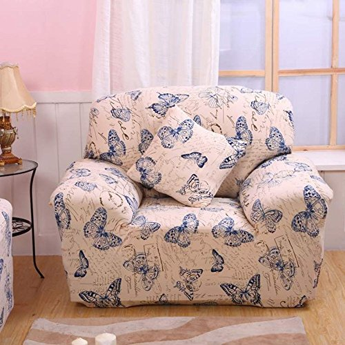 Fanjow Stretch Elastic Fabric Chair Loveseat Sofa Couch Slipcovers Floral Printing Sofa Covers Seat Protectors Without Pillow (1-seat Chair, Butterflies)