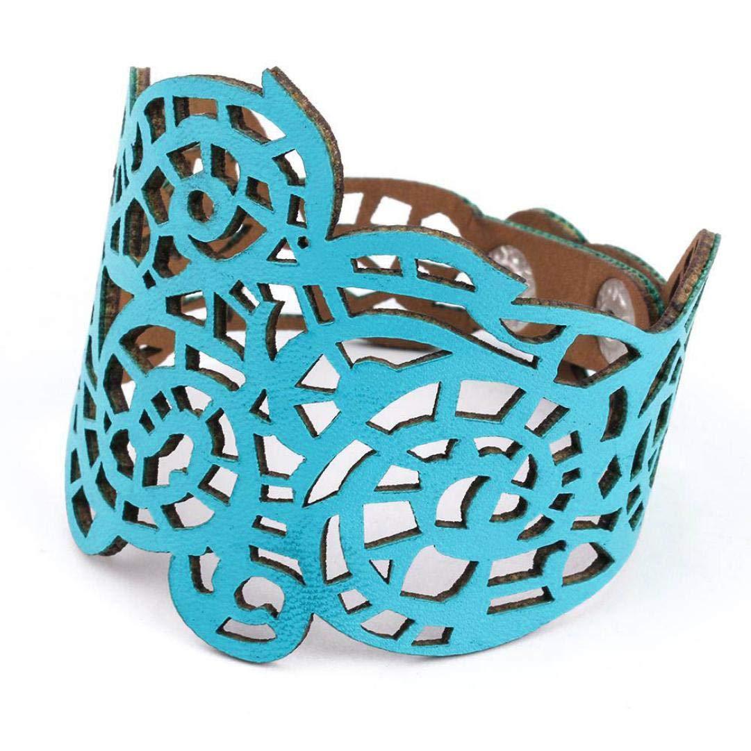 Hattfart Vintage Women Punk Style Hollow Out Flower Wide Bangle Cuff Leather Bracelet For Women Ladies Jewelry (Blue)