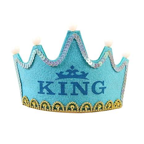 Luz LED Up cumpleaños sombrero princesa rey feliz cumpleaños ...