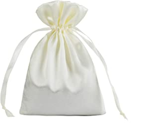 30 Pack 6 x 9.5 Inches Beige Satin Gift Bags, Jewelry Bags, Drawstring Pouch, Wedding Favor Bags, Baby Shower Bags, Silk Bags