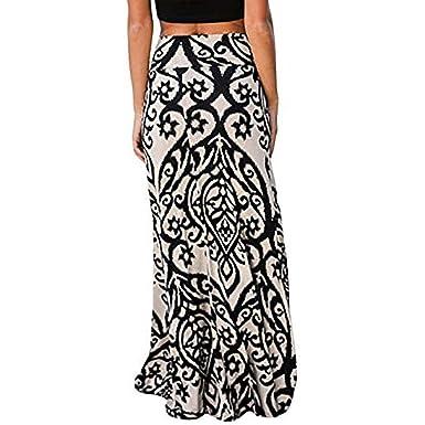 e376f469e14 Vintage Long Maxi Skirt for Womens Coral Print High Waist Skater Skirts  Ladies Beige
