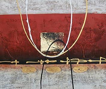Bild Abstrakt Grau Und Gold 60/90 Cm. Abstrakte Malerei Auf Leinwand  Horizontale,