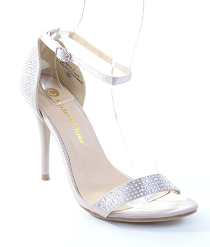 58fe8b371b7 Image Unavailable. Image not available for. Color  Fourever Funky Edward-4  Rhinestone Embellished Open Toe Ankle Strap Sandal ...