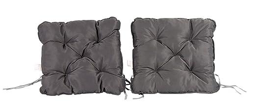 Meerweh Mar WEH Juego de 2 Cojín para sillón nordisches Diseño Asiento Cojín Asiento Acolchado, Gris, 50 x 50 x 10 cm