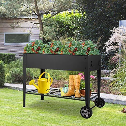 Kinsuite Garden Bed Raised Planter Flower Box with 12 Grids for Vegetable Tomato Herbs Gardening Removable Shelves
