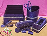 Dark Purple Office Supplies: Dark Purple Glitter Desk Stapler, Tape Dispenser, Scissors, 4 Binder Clips (32mm), Large Pencil Cup, Incline File Sorter, and Stapler Remover Set, (Your Choice of Color)