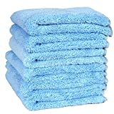 LANTEENSHOW (6-Pack 450gsm) 16x16 inches Professional Korea 80/20 Blend Super Ultra Plush Thick Microfiber Cleaning Towels For Car Wash,450 GSM Extra Black border (16x16 Inches Blue color)