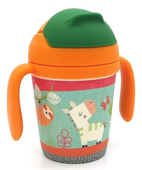 Vaso de bambú. Jarrita con Asas y Pajita en Boquilla, Ideal bebé e Infantil niño niña. Botella 300 ml de Material ecológico, Seguro y sin BPA, Apto ...
