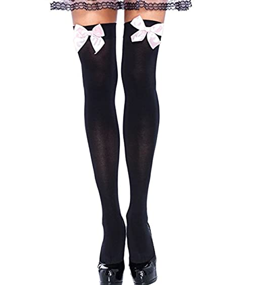 0ad085764 SHYNI Women s Opaque Thigh-High Stockings with Satin Bows at Amazon Women s  Clothing store
