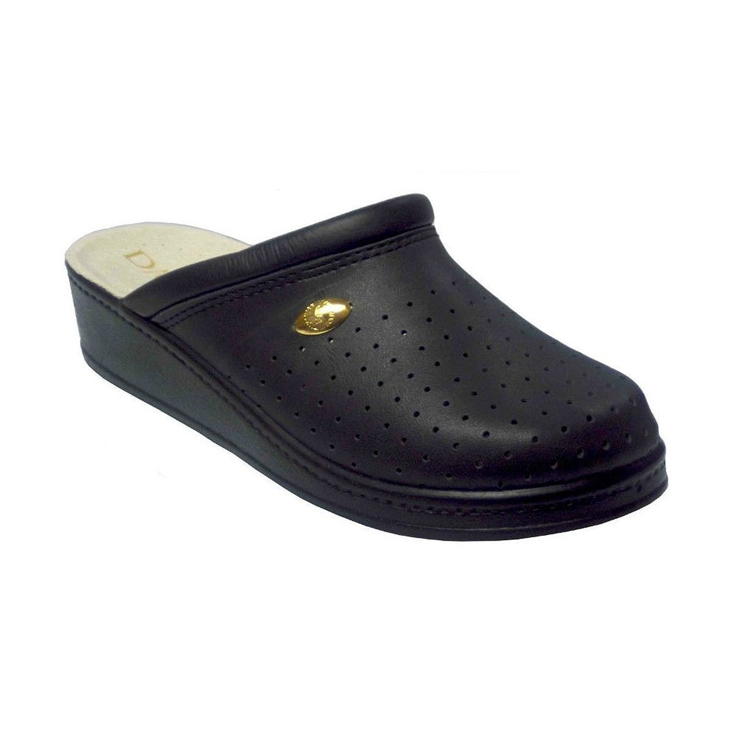 Damianis by Italian Shoemakers 300 Womens Leather Perforated Comfort Clogs (Black,7,Medium)