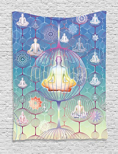 Ambesonne Home Decor Collection, Meditation and Yoga Design Human Body Chakra Mandala Patterns in Sphere Spiritual Harmony Print, Bedroom Living Room Dorm Wall Hanging Tapestry, Blue