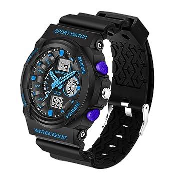 XKC-watches Relojes para Hombres, Sanda 5297 LED Luz Nocturna y cronómetro y Alarma