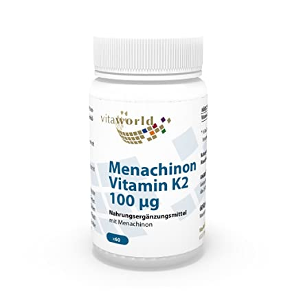 Vita World Menaquinona MK7 Vitamina K2 100µg 60 Cápsulas Vegetales Made in Germany