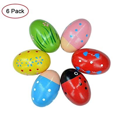 Sanmubo 6PCS Wooden Egg Shakers Maracas Percussion Musical Egg Kids Toys for Party Favors,Easter Basket Stuffers,Easter Egg Fillers,Musical Instrument, Easter Hunt: Sports & Outdoors