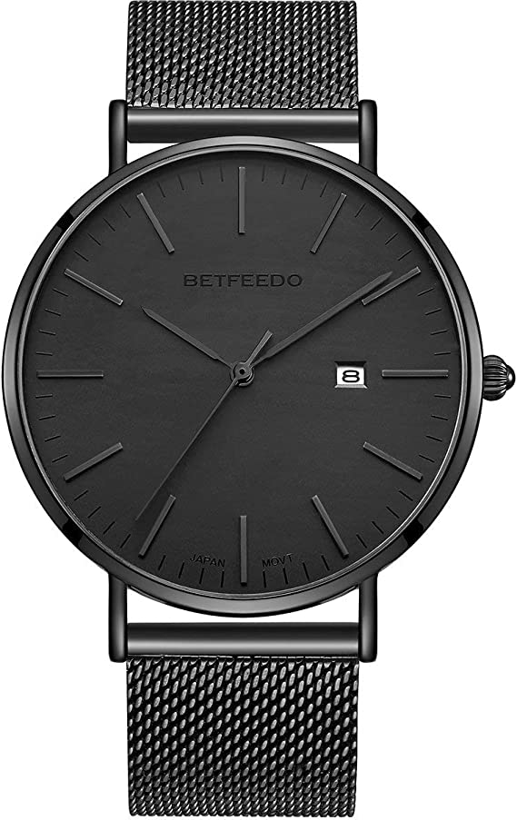 Betfeedo Men's Wrist Watches Ultra-Thin Quartz Analog Watch with Stainless Steel Mesh Band