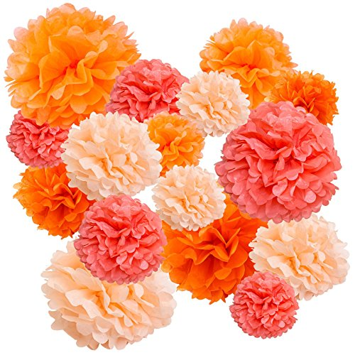 Floral Reef Variety Set of 16 (Assorted Orange Burst Color Pack) consisting of 8 10 14 Tissue Paper Pom Poms Flower