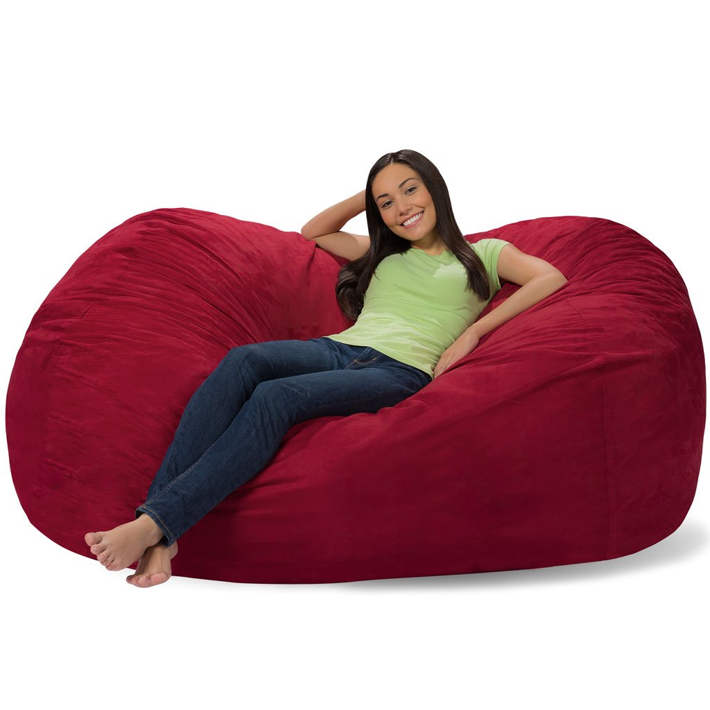 Comfy Sacks 6 ft Lounger Memory Foam Bean Bag Chair, Merlot Cords