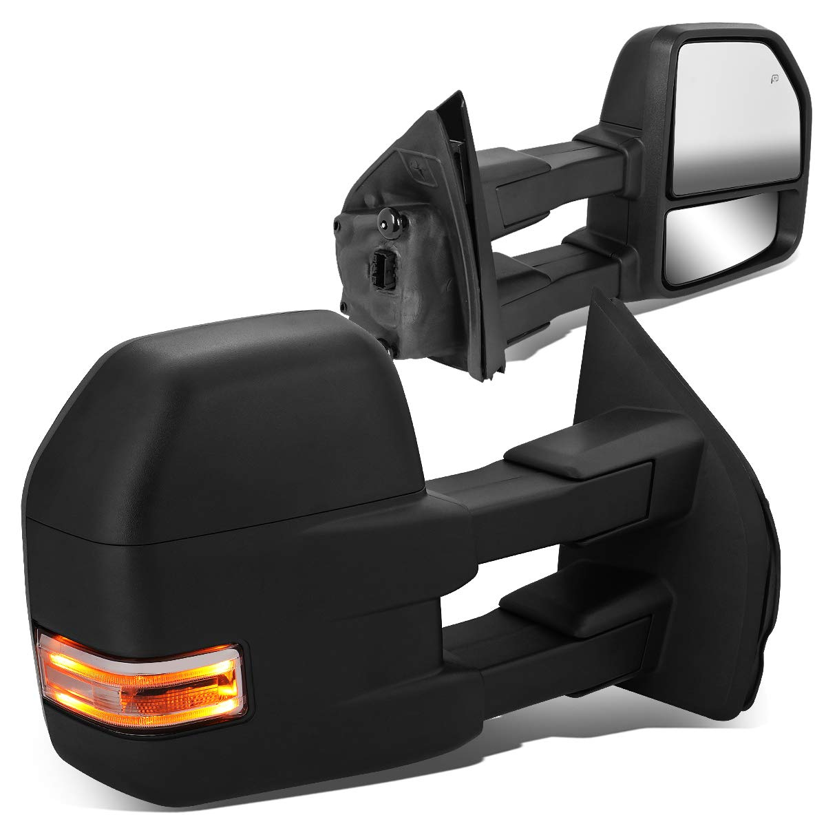 Pair Powered Side Rear View Towing Mirror w/LED Turn Signal+Puddle Light+Heated for Ford F150 15-18