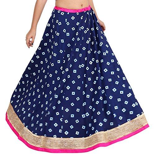 Indian Handwork Hippy Bohemian Long Skirt,Gaurangi Women's Indigo Designer Gold Hand Block printed Floor Length Rayon Party Wear Skirt Lehanga ()
