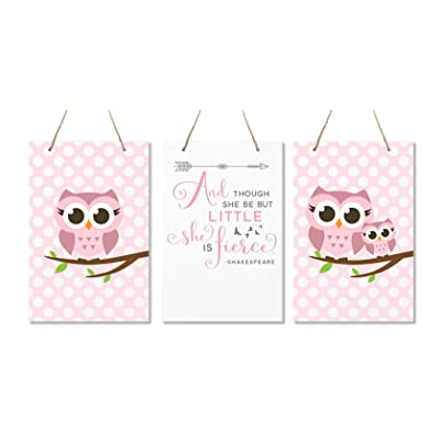 "LifeSong Milestones and Though She May Be Little She is Fierce 3 Piece Owl Childrens Wall Decor Signs for Kids, Bedroom, Nursery, Baby's Boys, Girls Room, Size 8"" x 12"" Made in USA (Pink): Home & Kitchen"