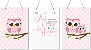 """LifeSong Milestones and Though She May Be Little She is Fierce 3 Piece Owl Childrens Wall Decor Signs for Kids, Bedroom, Nursery, Baby's Boys, Girls Room, Size 8"""" x 12"""" Made in USA (Pink)"""