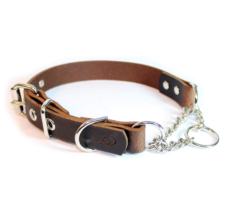sleepy pup Adjustable Leather Martingale Chain Dog Collar (Medium: 14''-18'', Dark Brown)