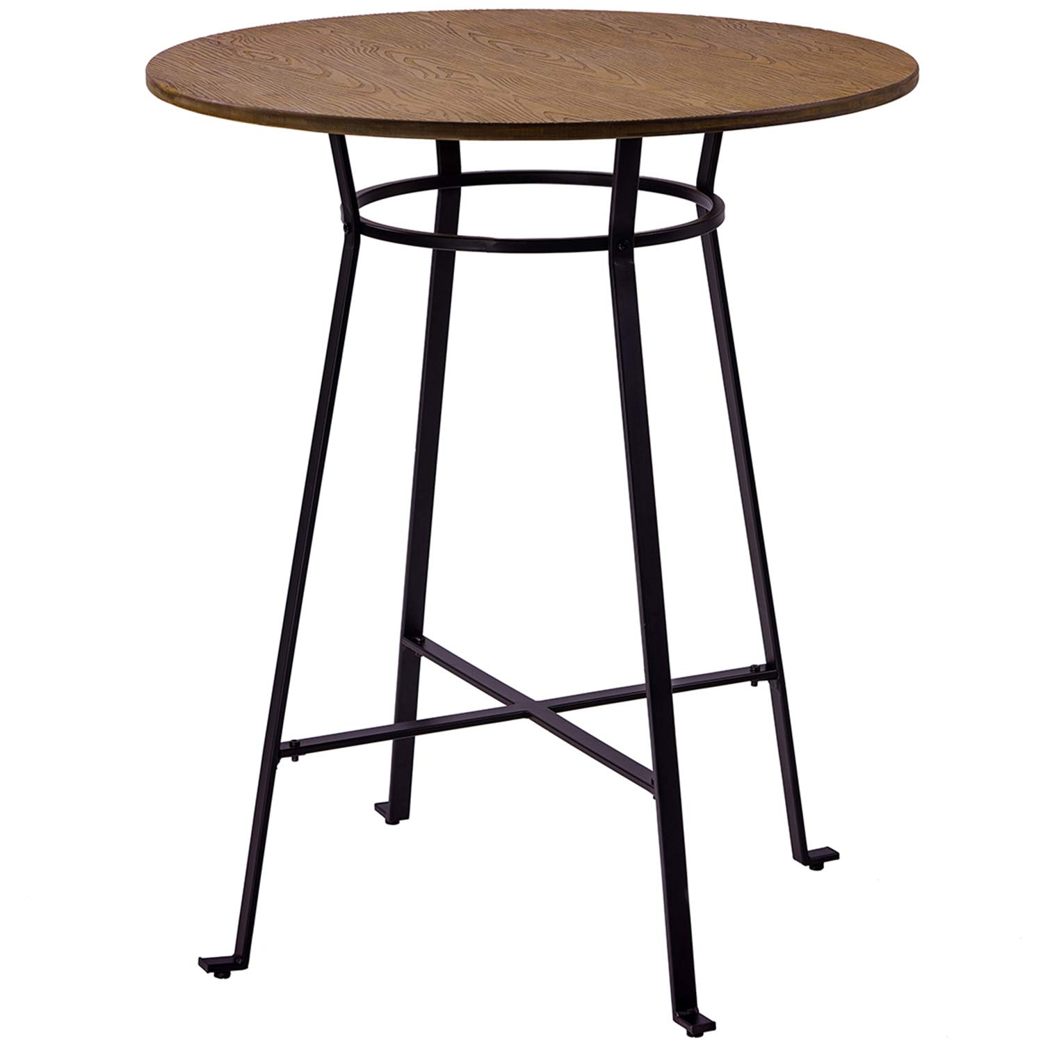 Amazon HarperBright Designs 42 Height Round Bar Table Retro Dining Room Metal Frame TableLight Brown Kitchen
