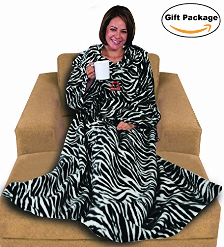 Napa Deluxe Fleece Blanket with Sleeves And Pockets Zebra, Lounging Super Soft Microplush Adult Wearable Throw Robe for Women and Men - Retail Packaging, 52