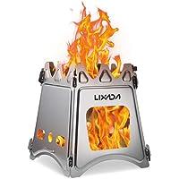 Lixada Outdoor Holzofen Tragbar Campingkocher für Picknick BBQ Camping Edelstahl/Titanium
